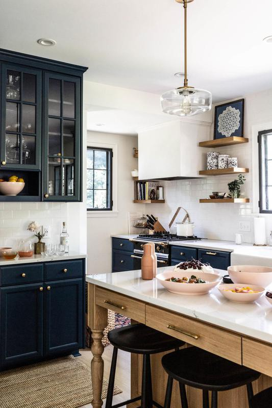 Navy blue kitchen marble-topped kitchen island