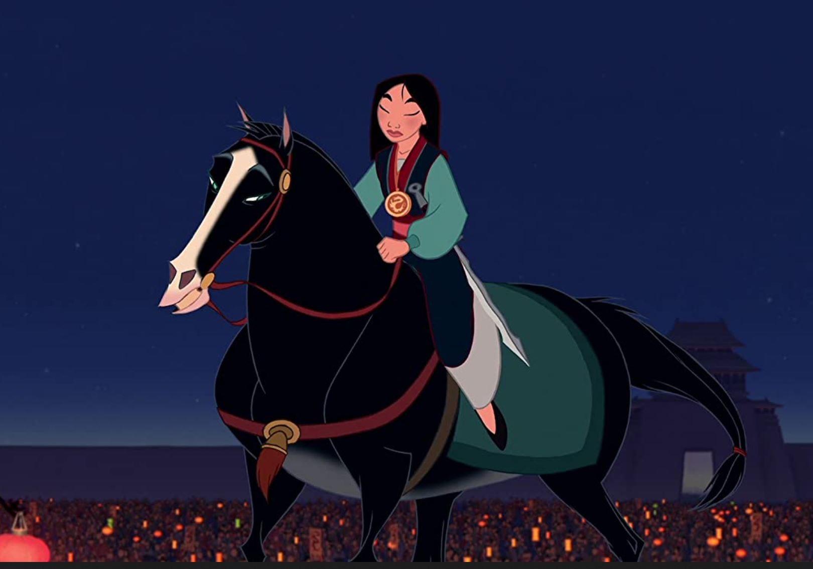 Mulan riding a horse