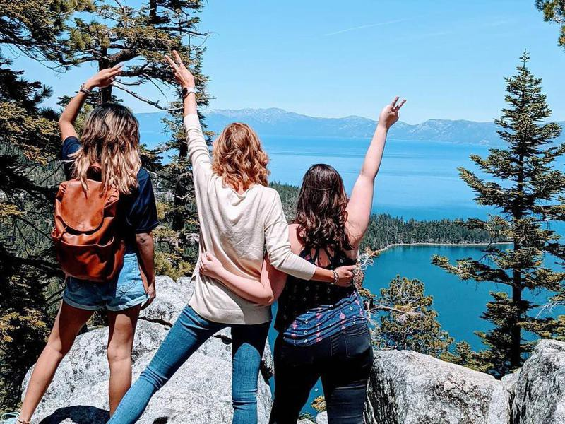 Friends hiking in Lake Tahoe, California