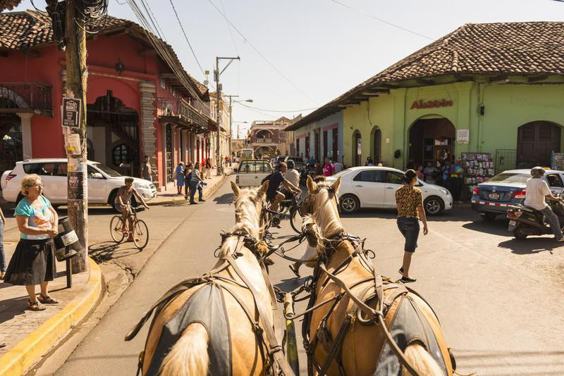 Riding a carriage in Nicaragua